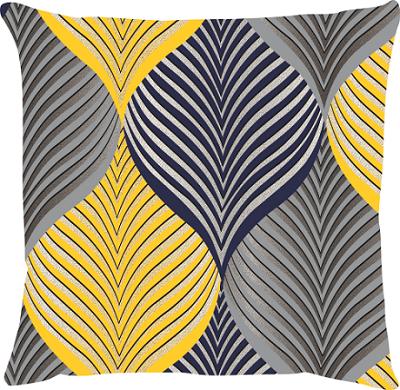 Capa de Almofada Folhas Amarelo e Azul Marinho