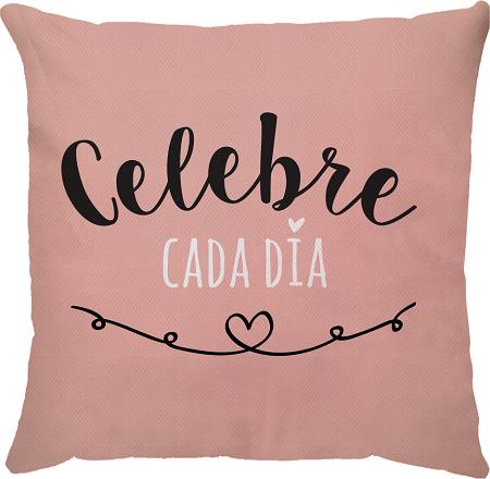 Capa de Almofada Frase Celebre Cada Dia Rosa 45x45