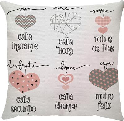 Capa de Almofada Frase Corações Rosa 45x45