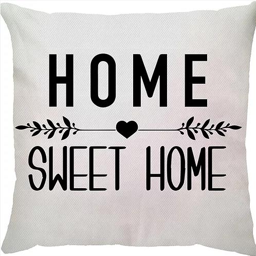Capa de Almofada Frase Home Sweet Home Fundo Branco 45x45