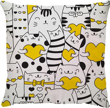 Capa de Almofada Gatos Corações Amarelo 45x45