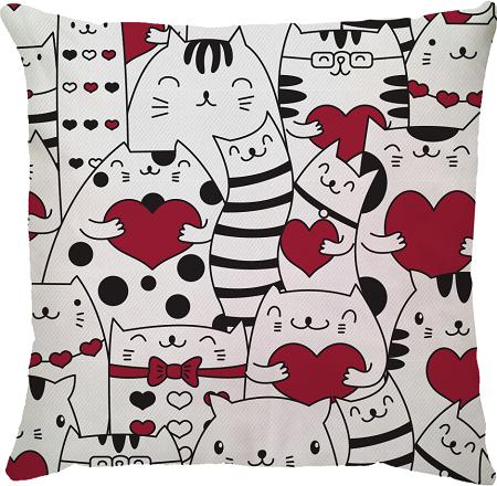 Capa de Almofada Gatos Corações Vermelho 45x45