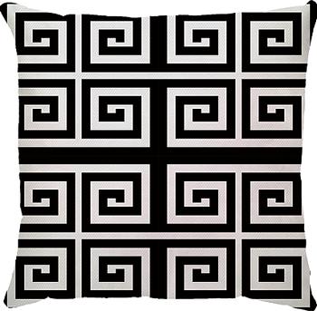 Capa de Almofada Labirinto Preto Branco