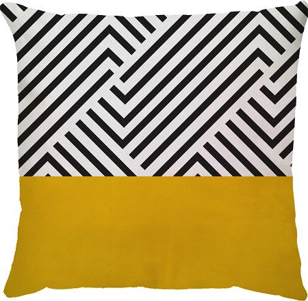 Capa de Almofada Linhas Amarelo Preto