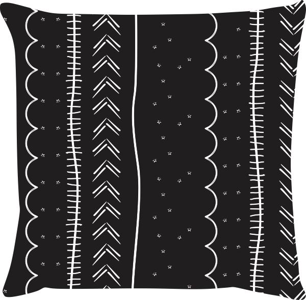 Capa de Almofada Linhas Diversas Preto 45x45