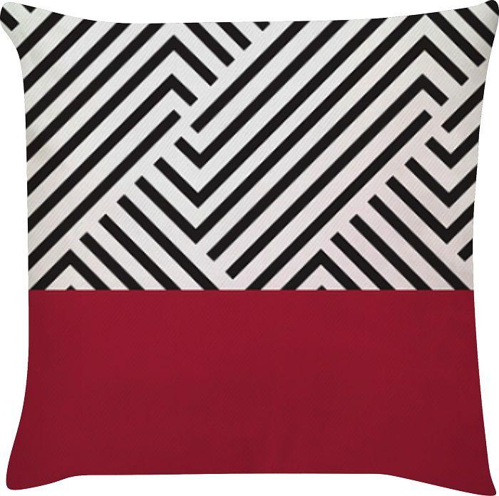 Capa de Almofada Linhas Vermelho Preto 45x45