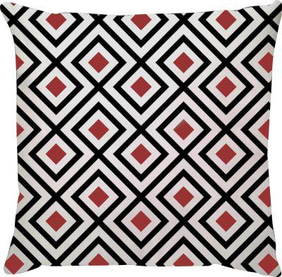 Capa de Almofada Losango Vermelho Preto