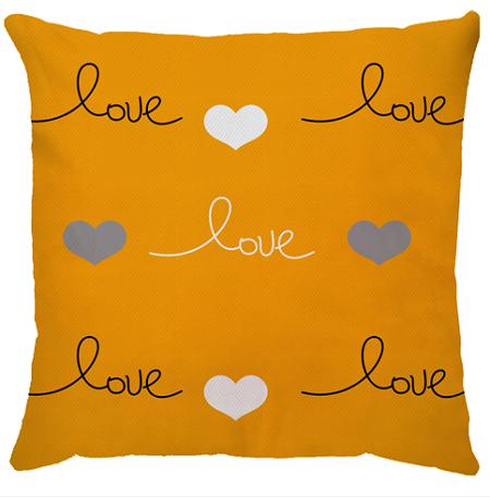 Capa de Almofada Love Fundo Amarelo