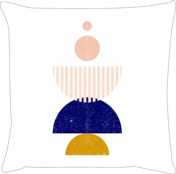 Capa de Almofada Lua Boho Azul Marinho e Mostarda 45x45