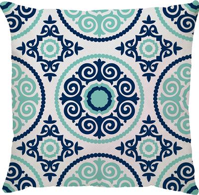Capa de Almofada Mandala Azul Marinho Turquesa 45x45