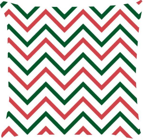 Capa de Almofada Natal Chevron Vermelho e Verde 45x45