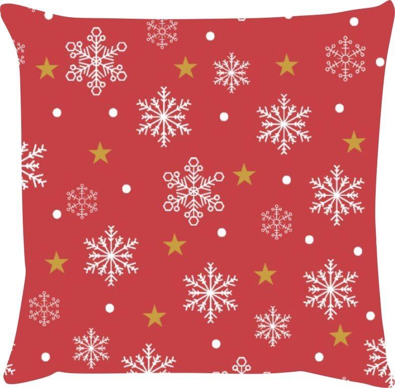 Capa de Almofada Natal Flocos de Neve Fundo Vermelho 45x45
