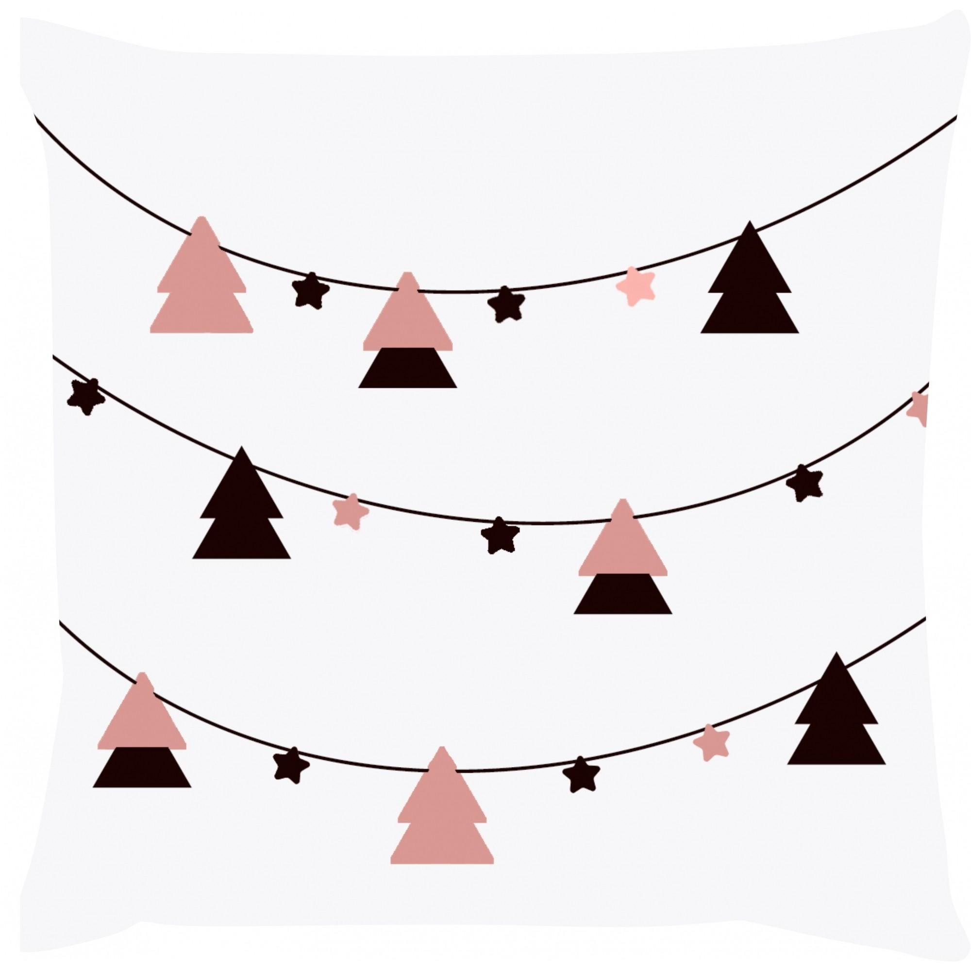 Capa de Almofada Natal Varal de Pinheiros Rosa 45x45