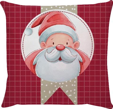 Capa de Almofada Papai Noel Fundo Vermelho 45x45