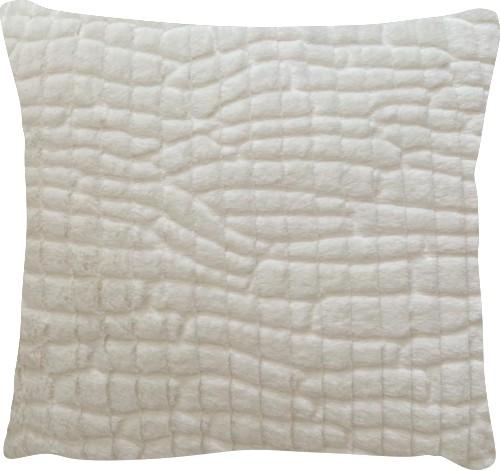 Capa de Almofada Pelo Baixo Soft Quadrados Off-White 45x45