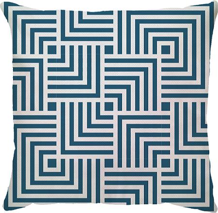 Capa de Almofada Quadrado Linhas Azul 45x45