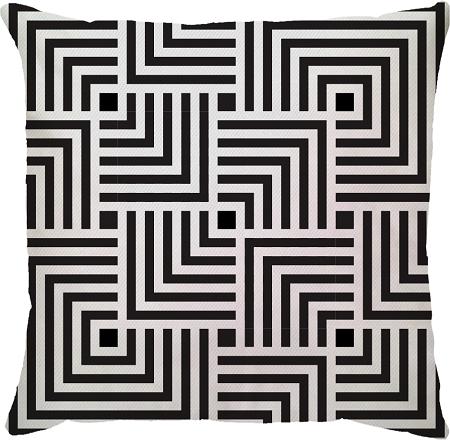 Capa de Almofada Quadrado Linhas Preto Branco 45x45