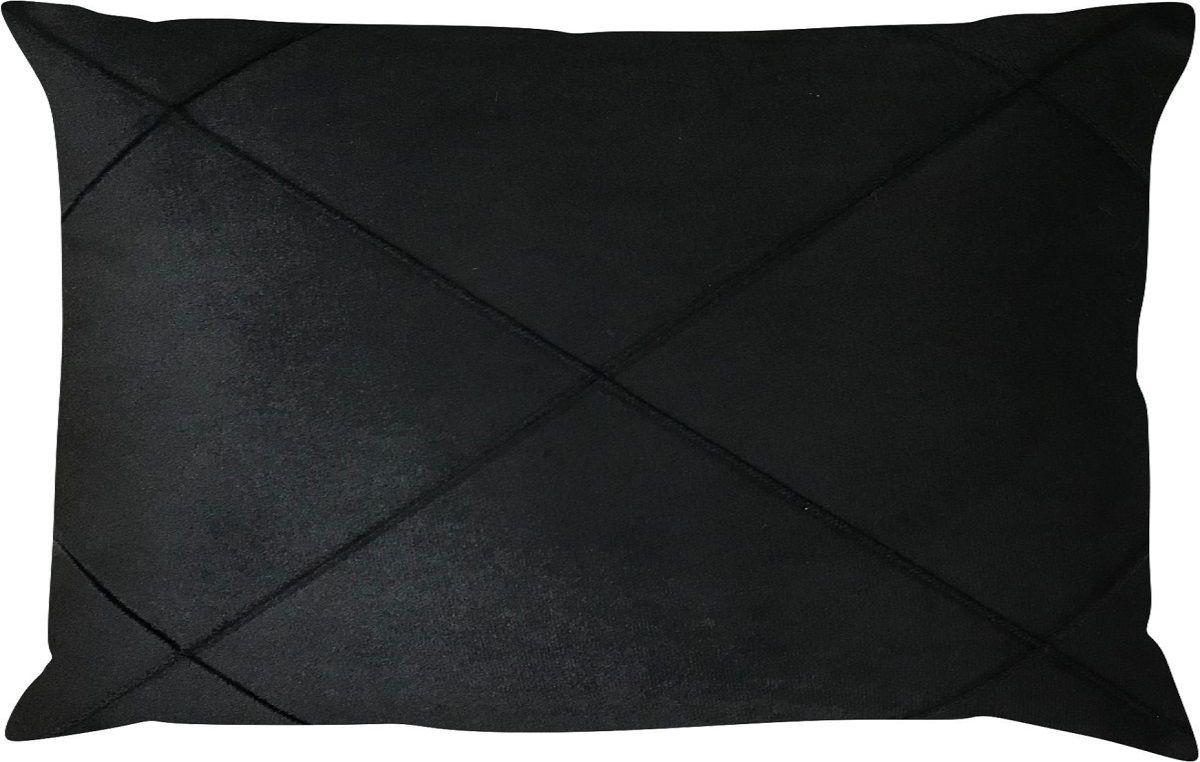 Capa de Almofada Retangular Drapeada Veludo Preto