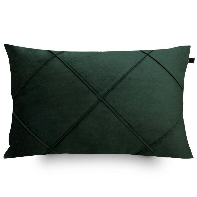 Capa de Almofada Retangular Drapeada Veludo Verde