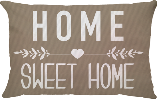 Capa de Almofada Retangular Frase Home Sweet Home Bege 25x45