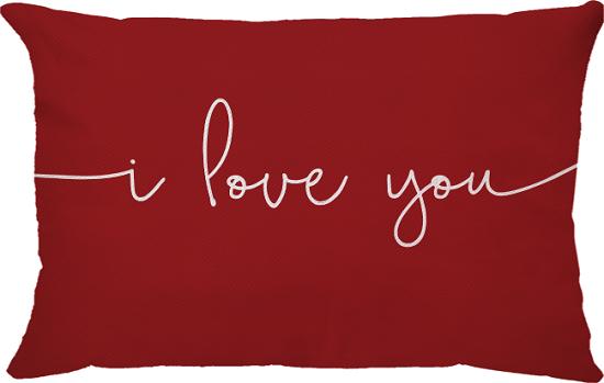 Capa de Almofada Retangular I Love You Fundo Vermelho