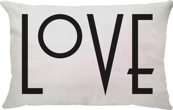 Capa de Almofada Retangular Love Fundo Branco 25x45