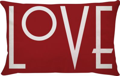 Capa de Almofada Retangular Love Fundo Vermelho