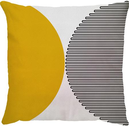 Capa de Almofada Semi Circulo Amarelo Preto