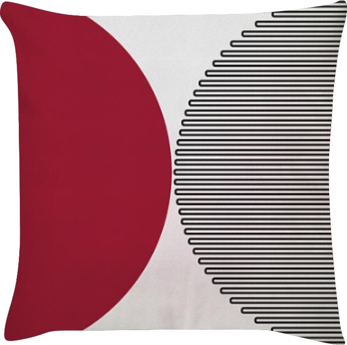 Capa de Almofada Semi Circulo Vermelho Preto 45x45