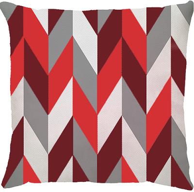 Capa de Almofada Seta Larga Vermelho Cinza