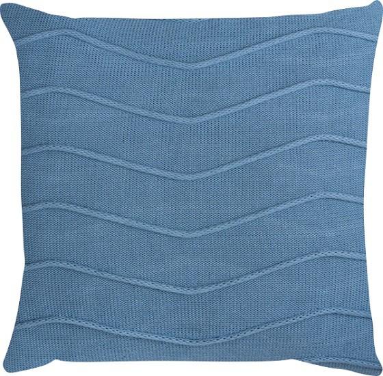 Capa de Almofada Tricot Linhas Azul Claro