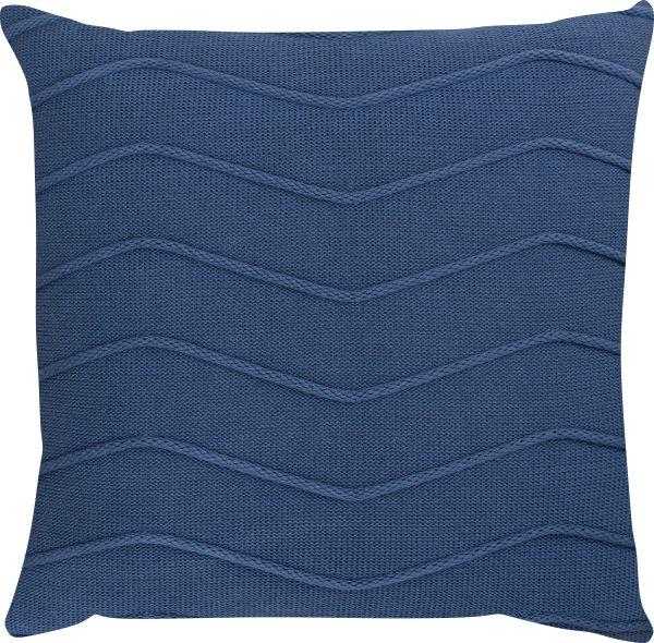 Capa de Almofada Tricot Linhas Azul Escuro