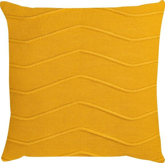 Capa de Almofada Tricot Linhas Amarelo
