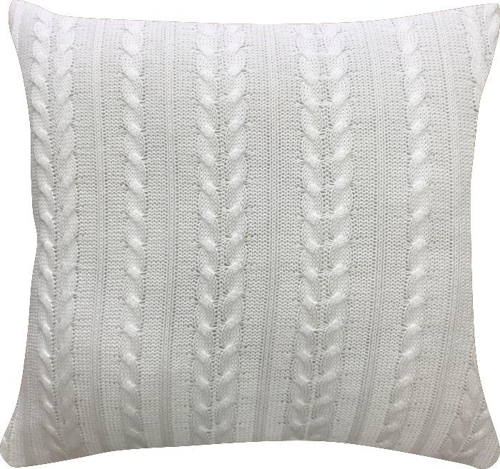Capa de Almofada Tricot Trançado Branco