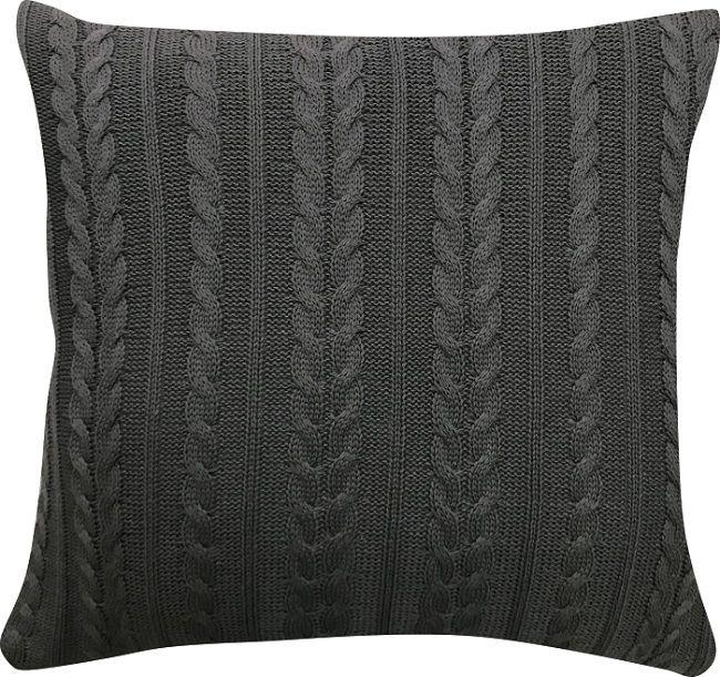 Capa de Almofada Tricot Trançado Cinza Escuro