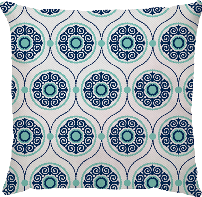 Capa de Almofada Vetor Azul Marinho Turquesa 45x45
