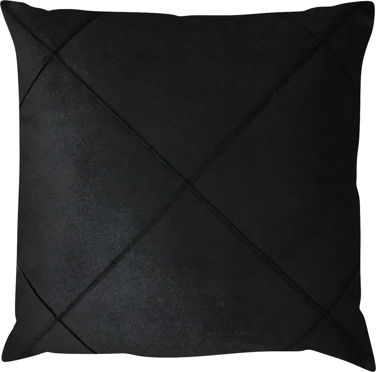 Capa de Almofada Drapeada Veludo Preto 43x43