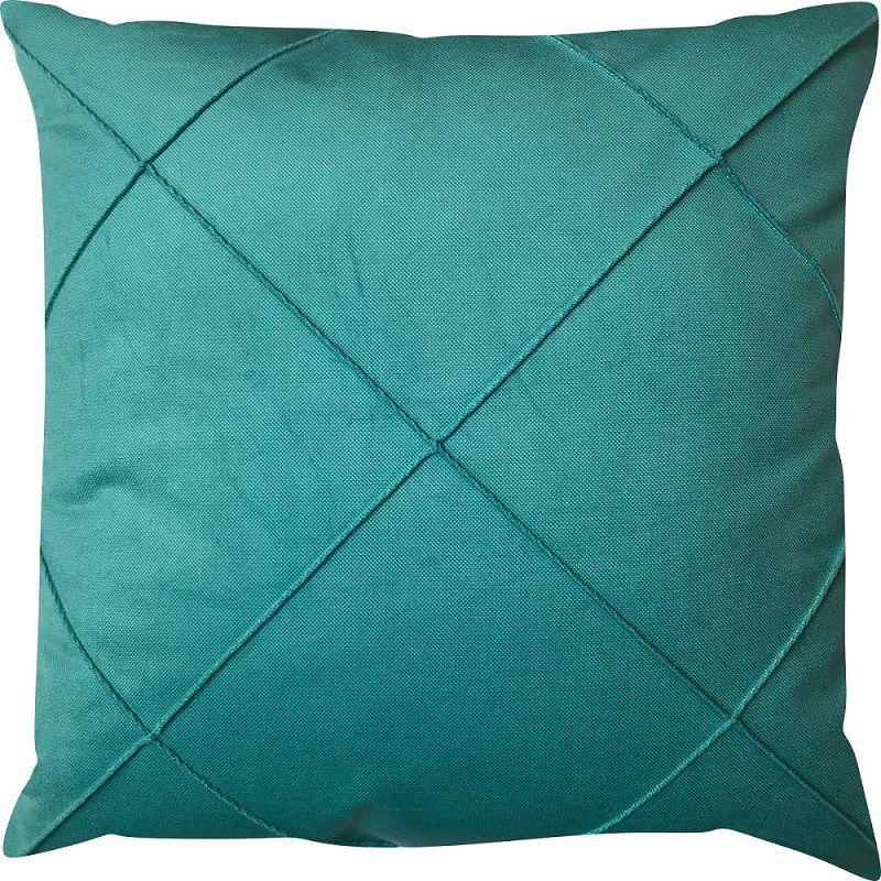 Capa de Almofada Drapeada Veludo Azul Turquesa 43x43