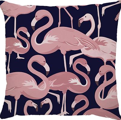 Capa de Almofada Flamingo Azul Marinho Rosa