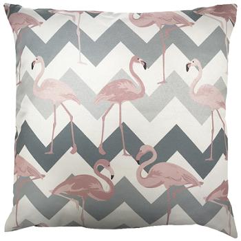 Capa de Almofada Flamingo Chevron Cinza