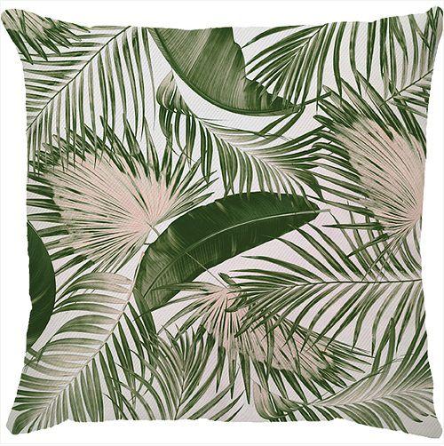 Capa de Almofada Folhas Verde Rosa 45x45