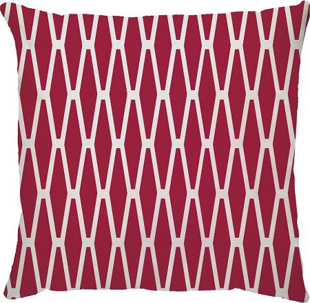 Capa de Almofada Geométrica Vermelho Branco