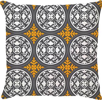 Capa de Almofada Grega Amarelo Cinza Escuro