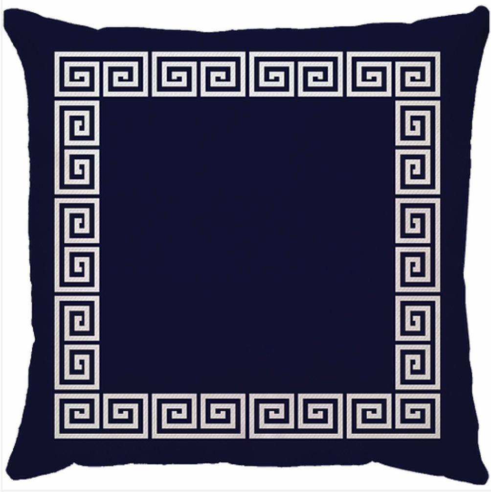 Capa de Almofada Grega Azul Marinho Branco