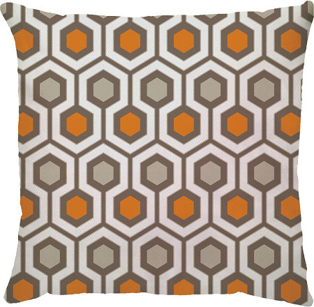 Capa de Almofada Hexagono Laranja Bege