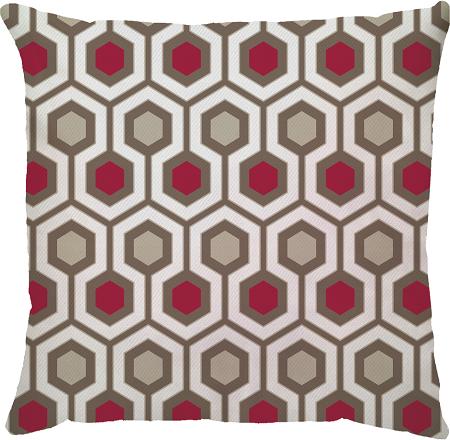 Capa de Almofada Hexagono Vermelho Bege