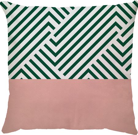 Capa de Almofada  Linhas Verde Musgo Rosa