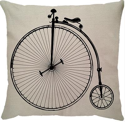 Capa de Almofada Linho Bicicleta