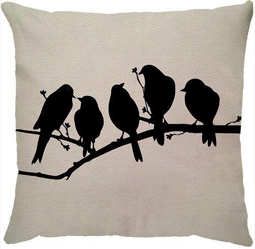 Capa de Almofada Linho Pássaros