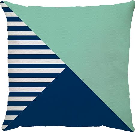 Capa de Almofada Listras Menta Azul Marinho